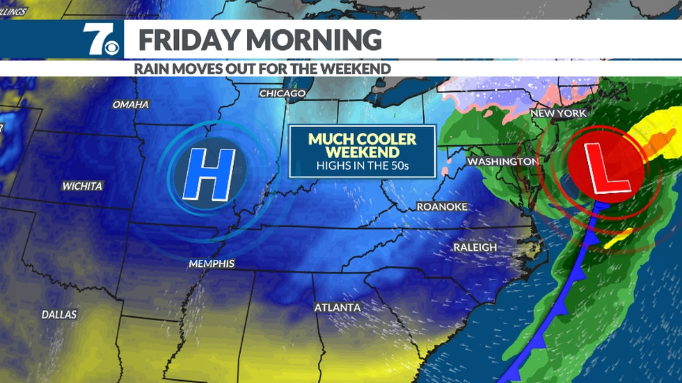 Much cooler air moves in as we head into the weekend.