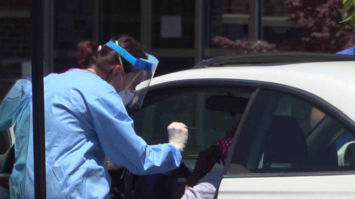 A person undergoes a drive-thru test for the coronavirus. WDBJ7 photo.