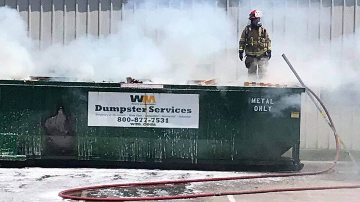 Roanoke County Fire and Rescue responded to a dumpster fire behind the Roanoke County Schools' administration building Friday afternoon.