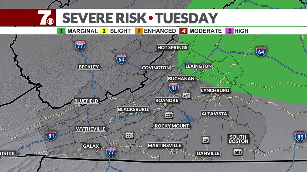 We have a Marginal Risk of severe storms later Tuesday afternoon.