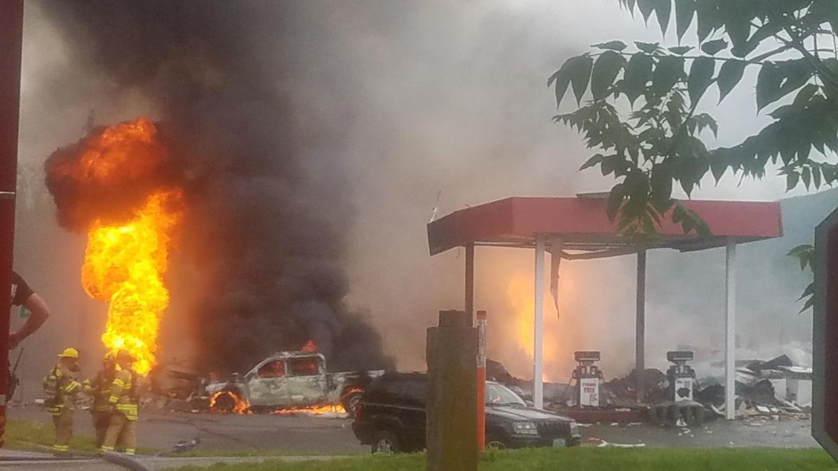 A neighbor captured this image of the scene of an explosion at South River Market in Buena Vista.