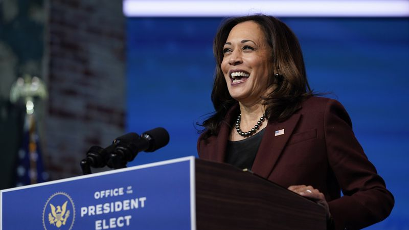 FILE - In this Tuesday, Nov. 24, 2020 file photo, Vice President-elect Kamala Harris speaks as...