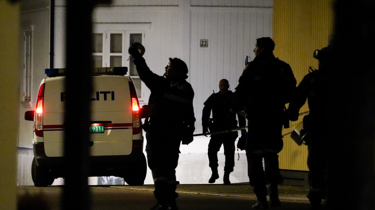 Police at the scene after an attack in Kongsberg, Norway, Wednesday, Oct. 13, 2021. Several...