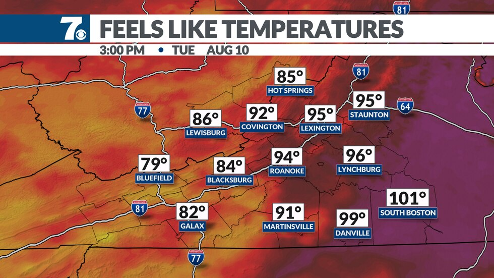 The heat combined with the humid air will bring feels like temperatures into the mid/upper 90s.