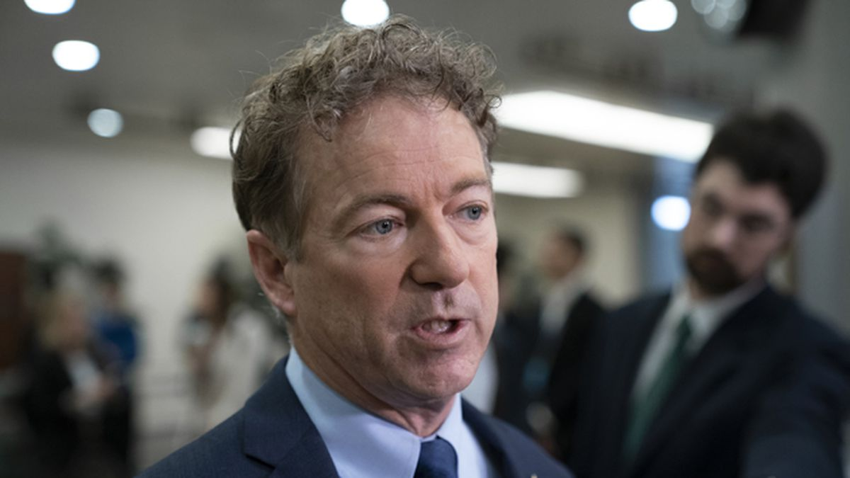Sen. Rand Paul, R-Ky., a member of the Foreign Relations Committee, responds to reporters...