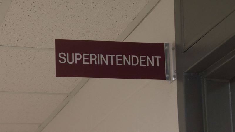 The sign outside the office of Alleghany County, Va., school superintendent Kim Halterman.