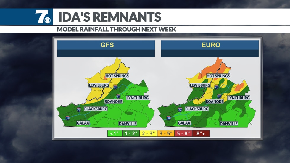 Models show inches of rain possible from Ida this week.