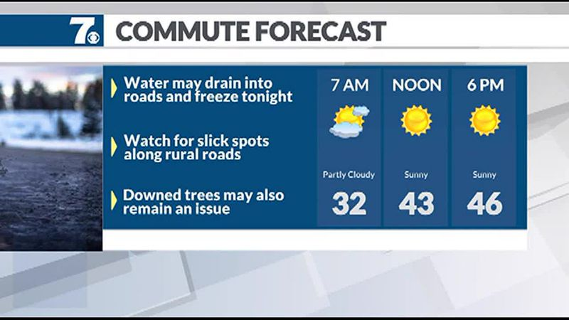 Watch for a few slick spots early Tuesday.
