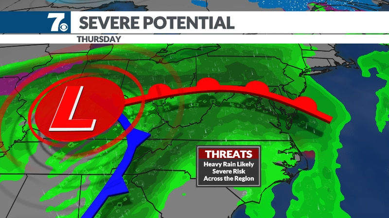 Strong storms are possible on Thursday.