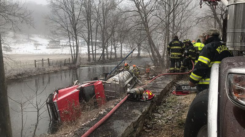 Highland County tanker crash and fuel spill along Route 220