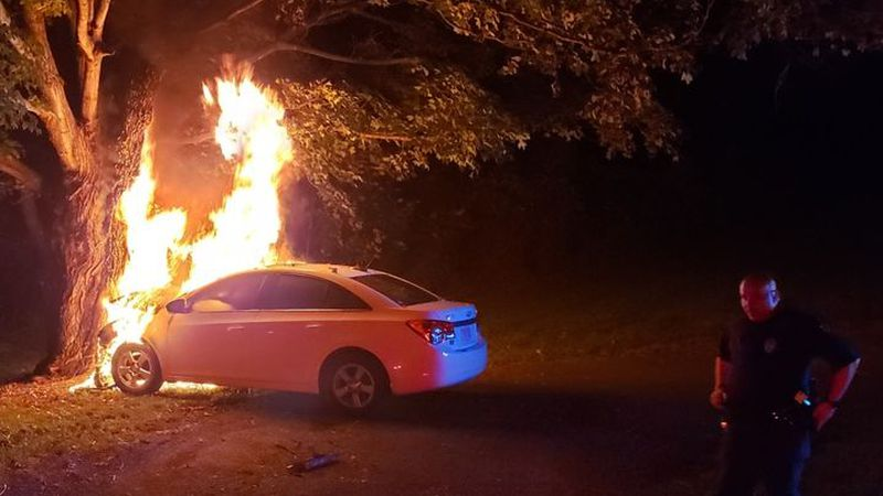 A driver is hurt after a car accident and fire in Bedford.