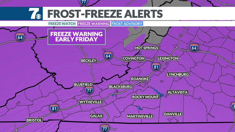 Lows fall to at or below freezing in many areas again tonight.