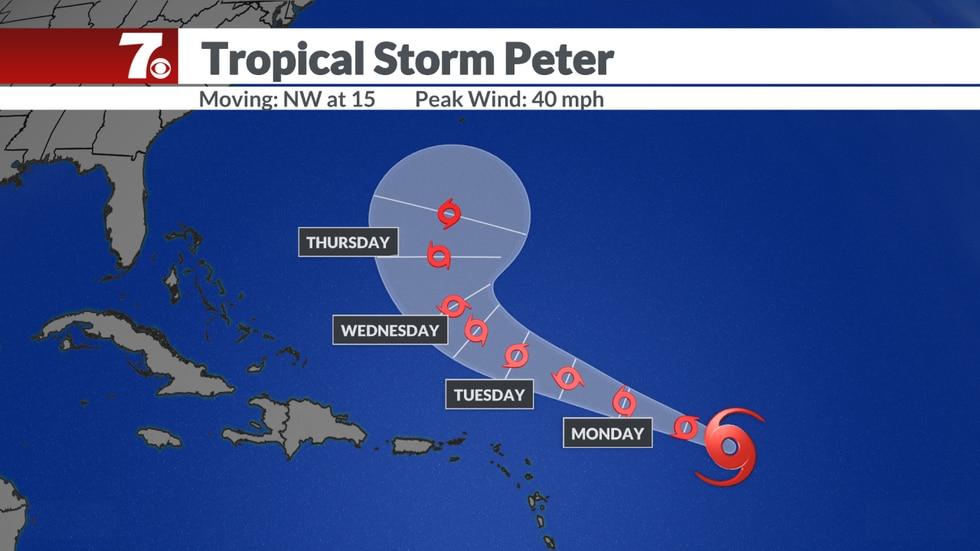 Tropical Storm Peter forecast.