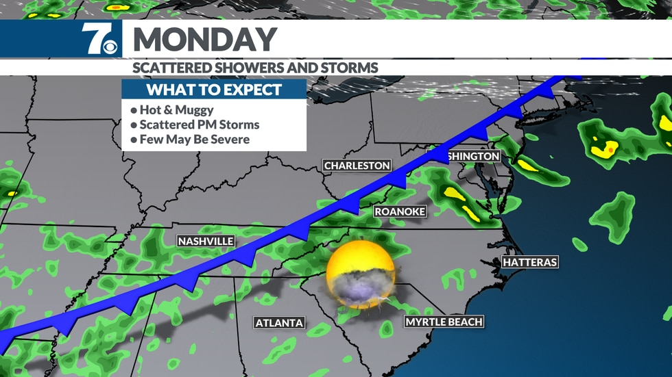 Scattered showers and storms become more numerous Monday as a front approaches.