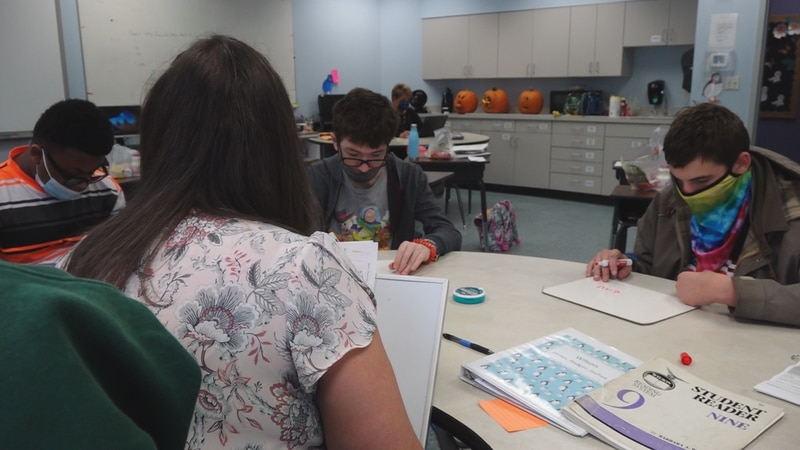 Bethany Mazurek teaches students at the Blue Ridge Autism and Achievement Center in Roanoke.