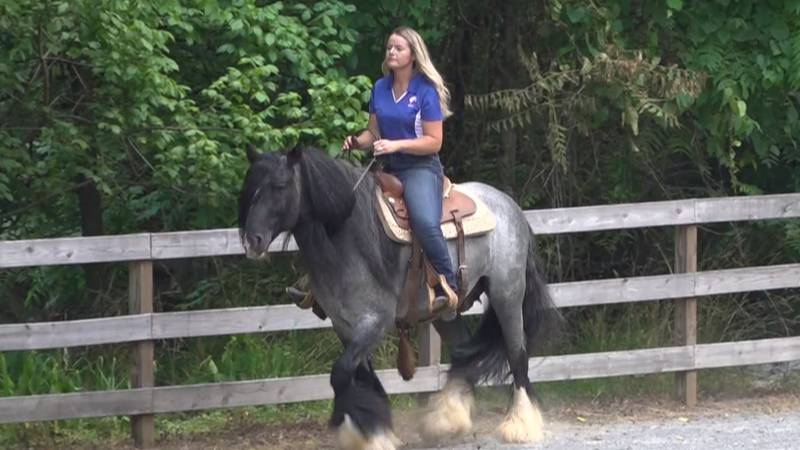 Nellie Gibson-Gaither, the trainer at Blue Ridge Gypsies in Goodview, riding Bluemoon.