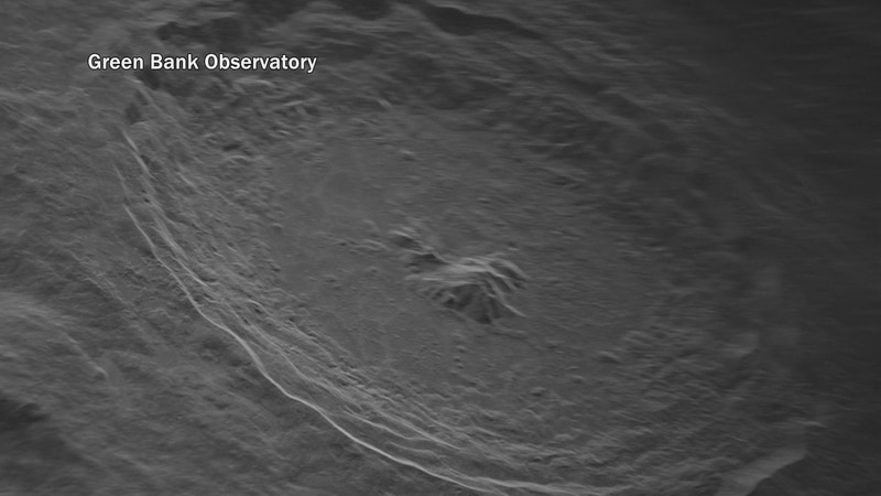 The view of Tycho Crater assembled from radar data.
