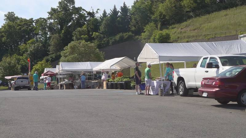 Vendors lined up at the South County Farmers' Market in Roanoke County.