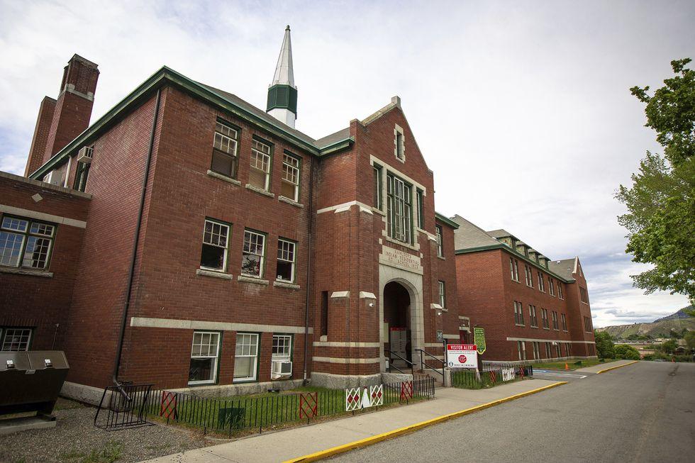 The former Kamloops Indian Residential School is seen on Tk'emlups te Secwépemc First Nation in...