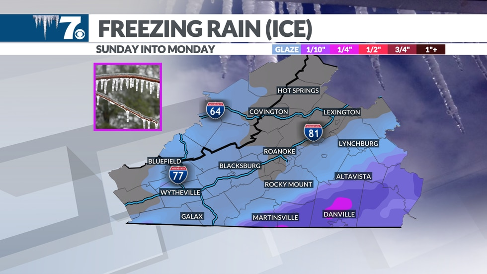Highest totals of ice expected in Southside.