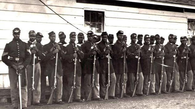 Soldiers of the 54th Massachusetts Regiment during the Civil War.