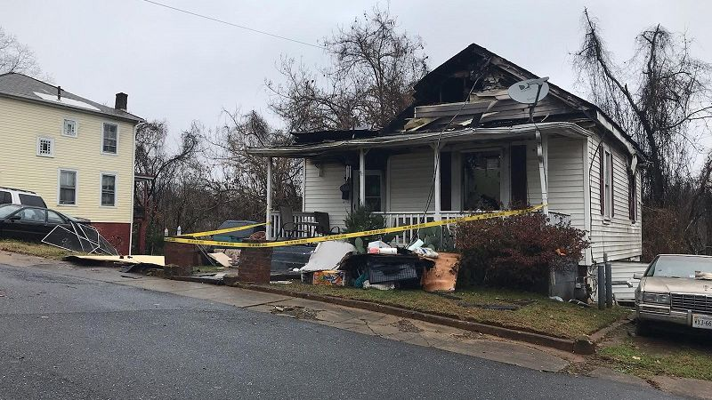 Home damaged by fire on Floyd Street in Lynchburg, Nov. 20, 2020