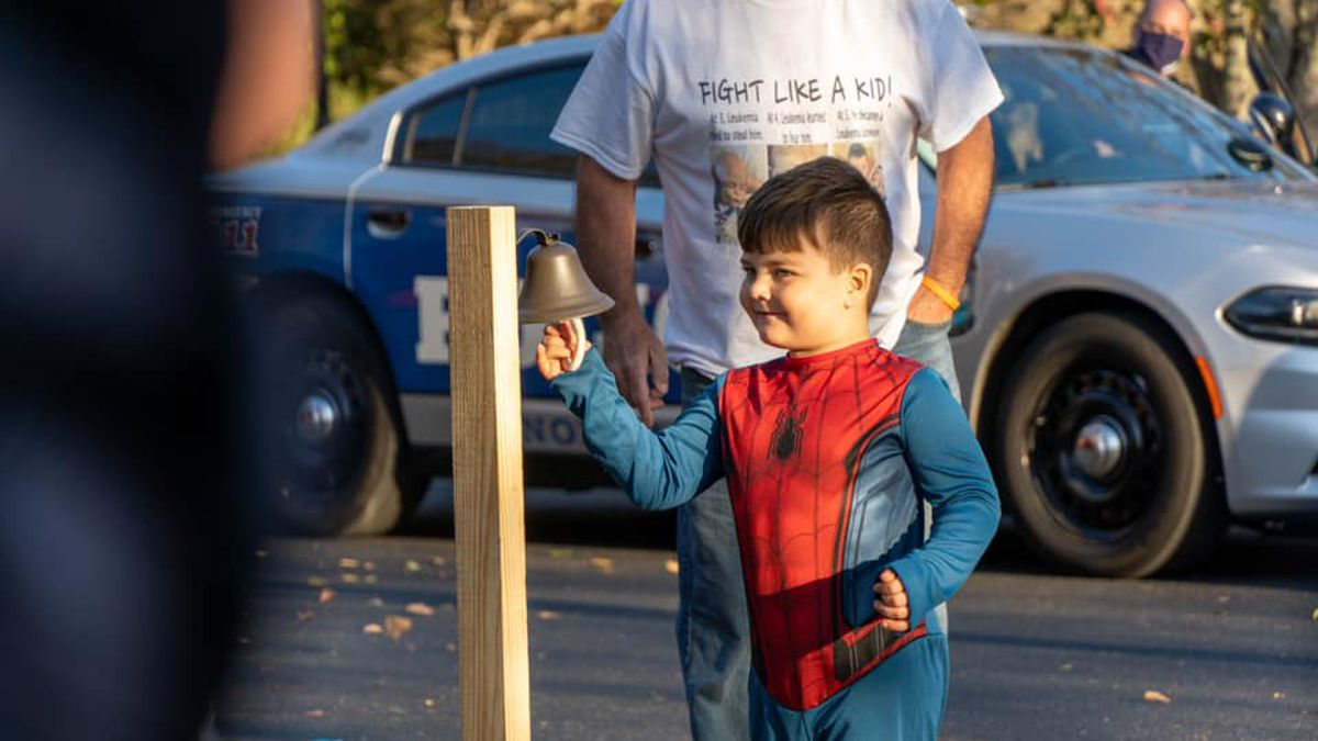 KPD officers and community members showed their support for Noah Sunday afternoon as he rung a...