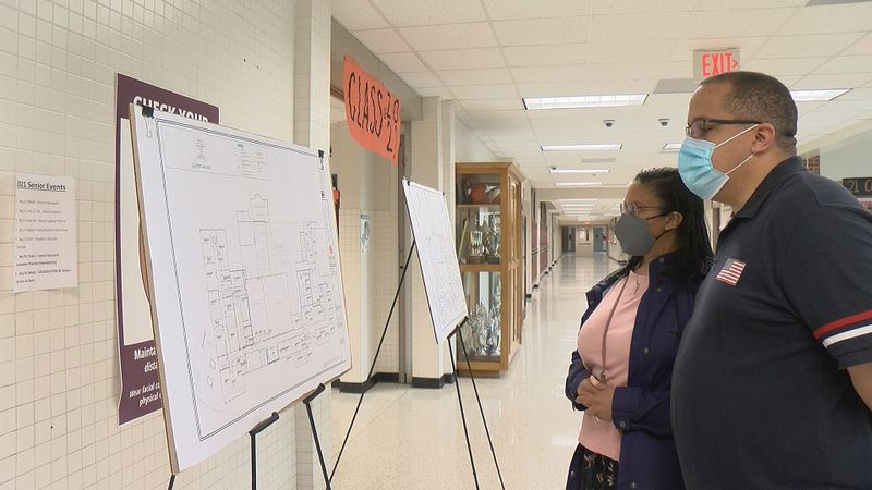 William Byrd High School community members take a look at the floor plans for the upcoming...