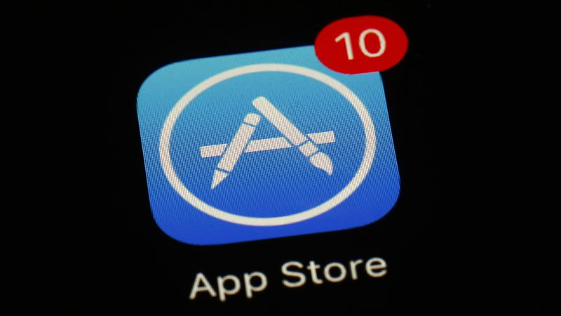 FILE - This March 19, 2018, file photo shows Apple's App Store app in Baltimore. As its iPhone...