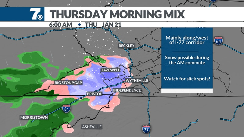 A weak disturbance will bring some light snow along and west of the I-77 corridor.