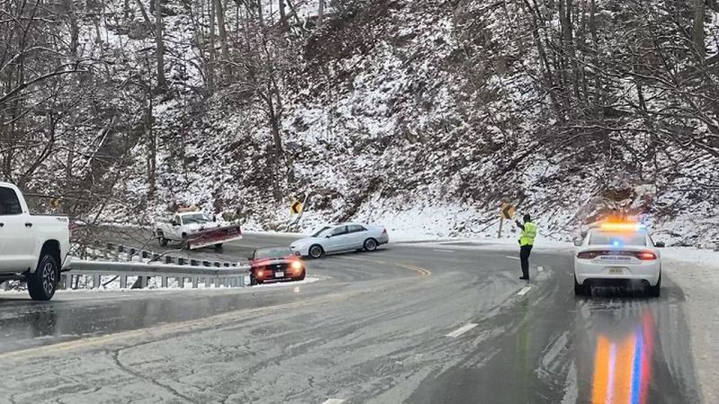Crash on Bent Mountain Road during winter road conditions