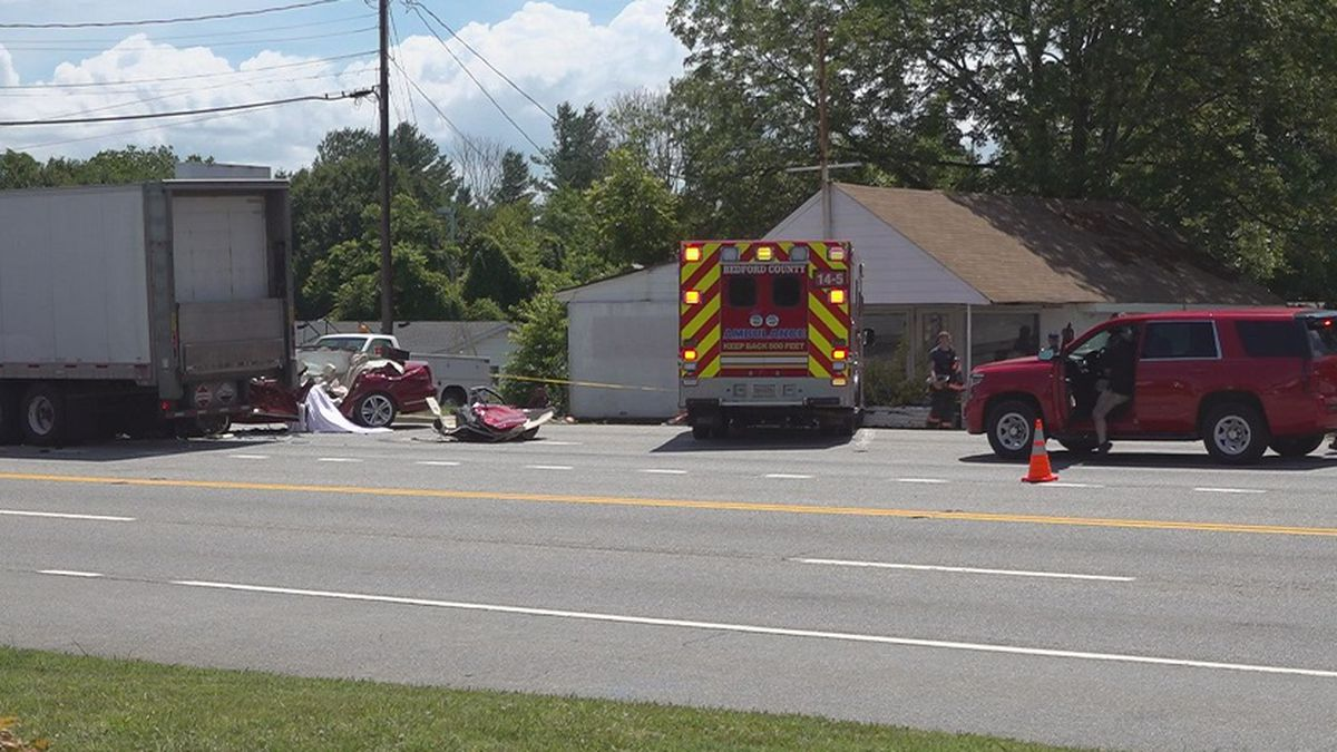 One man was killed in a crash between a car and a big rig in Forest.