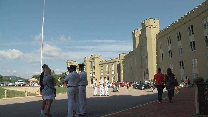 Cadets and families gather outside the barracks at VMI in a file photo.