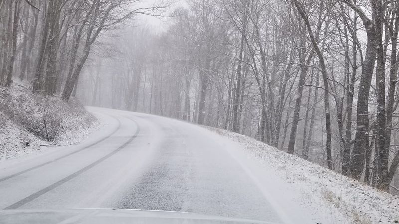 It was the first snow of the season in the Highlands Tuesday with a dusting on the ground.