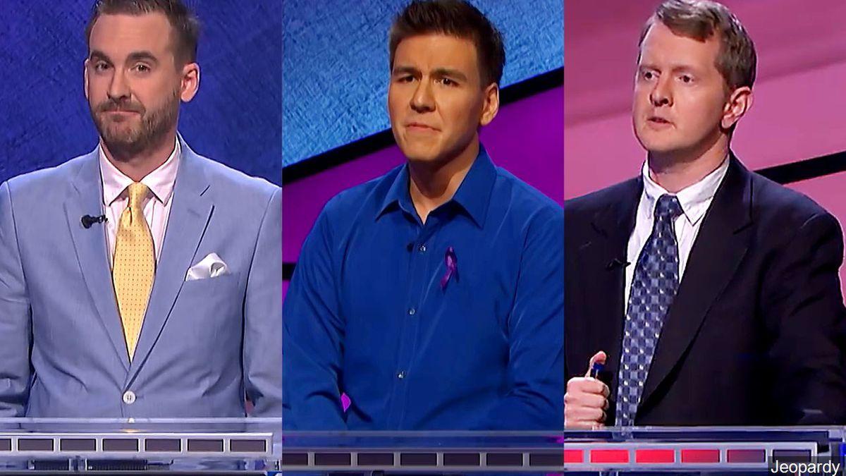 Jeopardy champions - (L-R) Brad Rutter, James Holzhauer & Ken Jennings