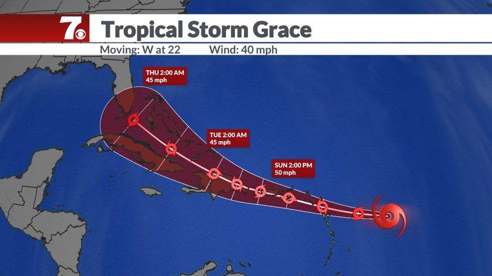 Tropical Storm Grace forecast.