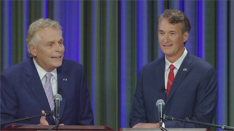 Terry McAuliffe (left) and Glenn Youngkin (right) at Virginia's first gubernatorial debate on...