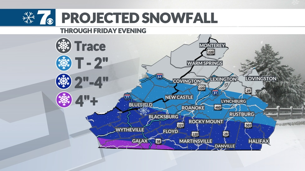 The latest snow forecast for Friday's storm.