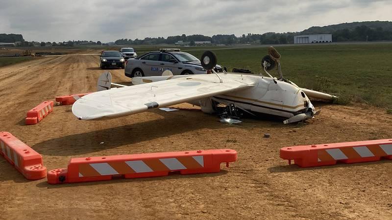 Plane overturns during landing at Virginia Highlands Airport in Abingdon