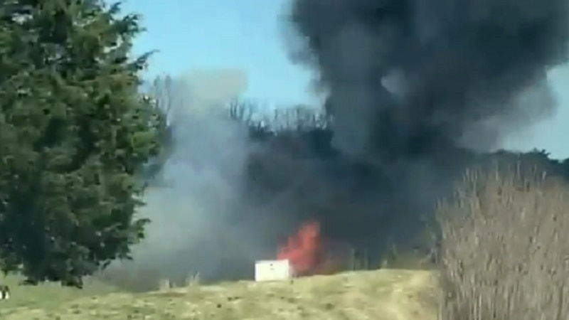 Big rig fire and brush fire along US 29 in Altavista