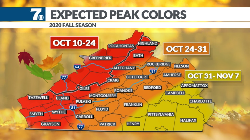While times vary from place-to-place, here's a look at the estimated peak times for fall...