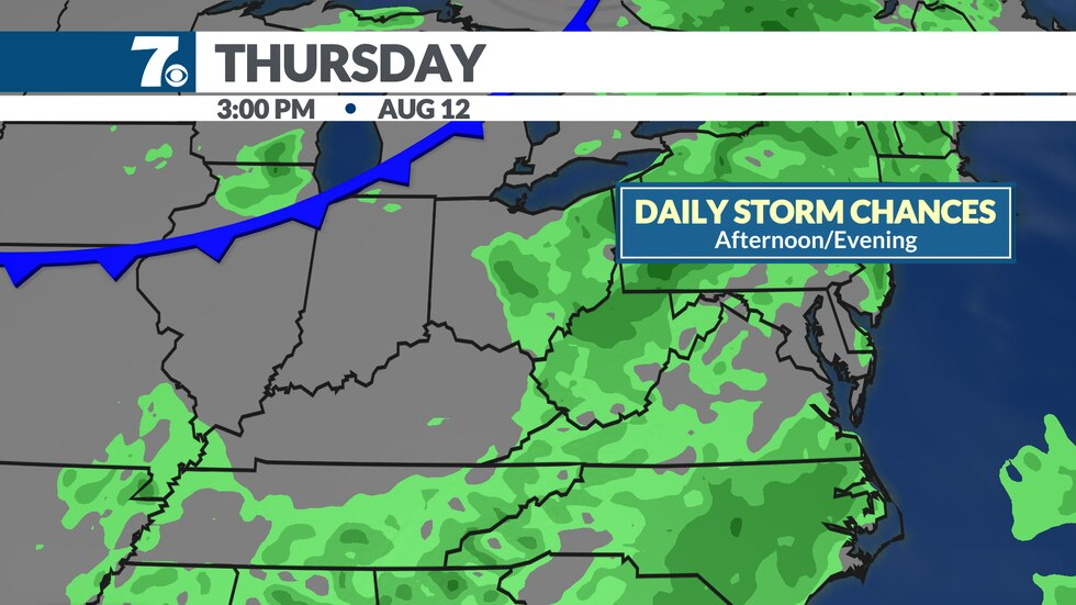 A slow moving front could bring better storm chances later this week.