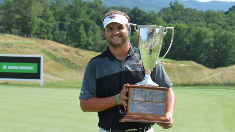 2020 Delta Dental State Open of Virginia champion Mark Lawrence holds the trophy after winning...