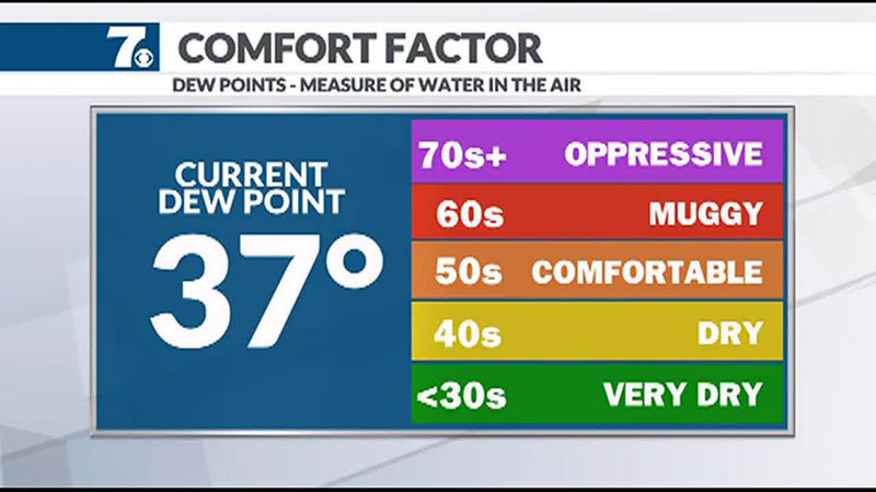Our Dew Point has dropped into the 30s meaning we're dry and comfortable.