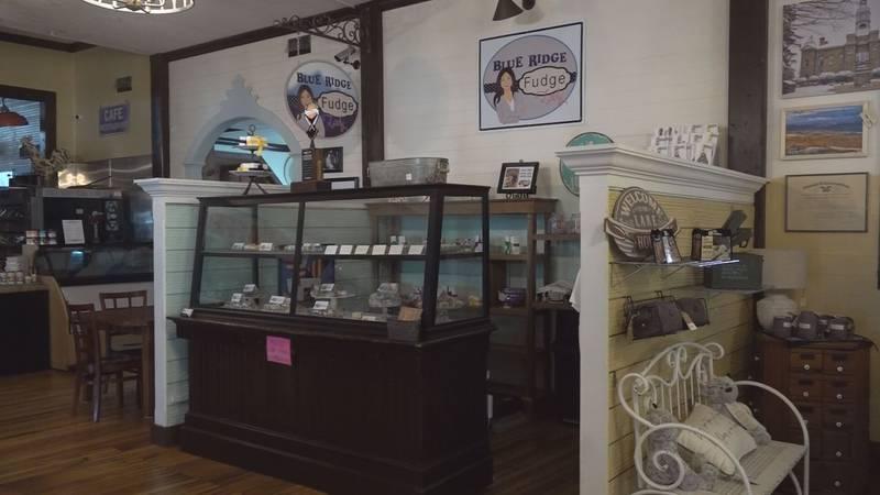 The Blue Ridge Fudge Lady chocolate shop in the Draper Mercantile.