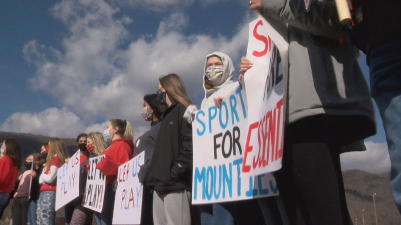 Alleghany High School students protest the cancellation of sports at their school.
