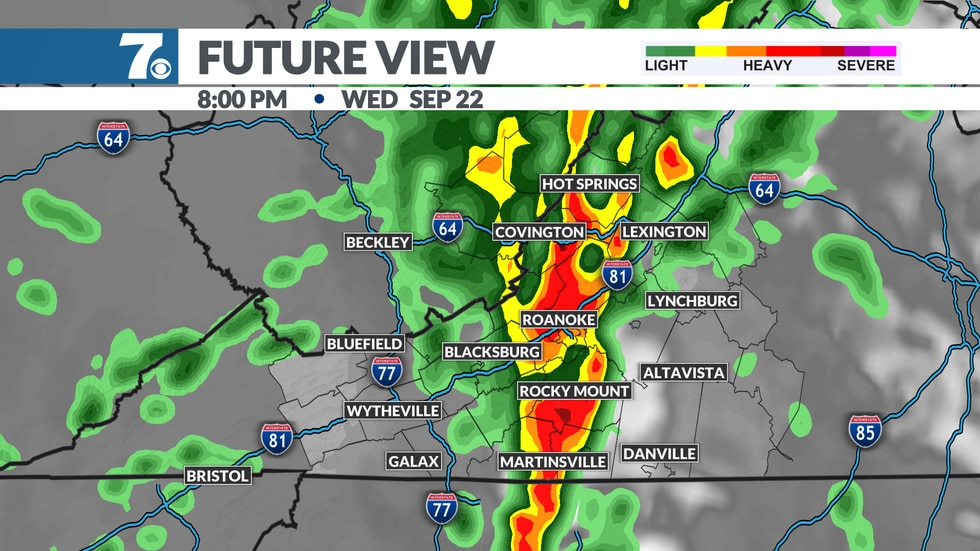 A cold front moves through Wednesday with several waves of heavy rain.