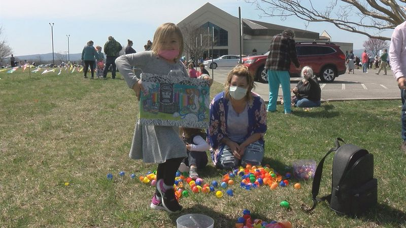 Kids won prizes at a church's Easter Egg Hunt.