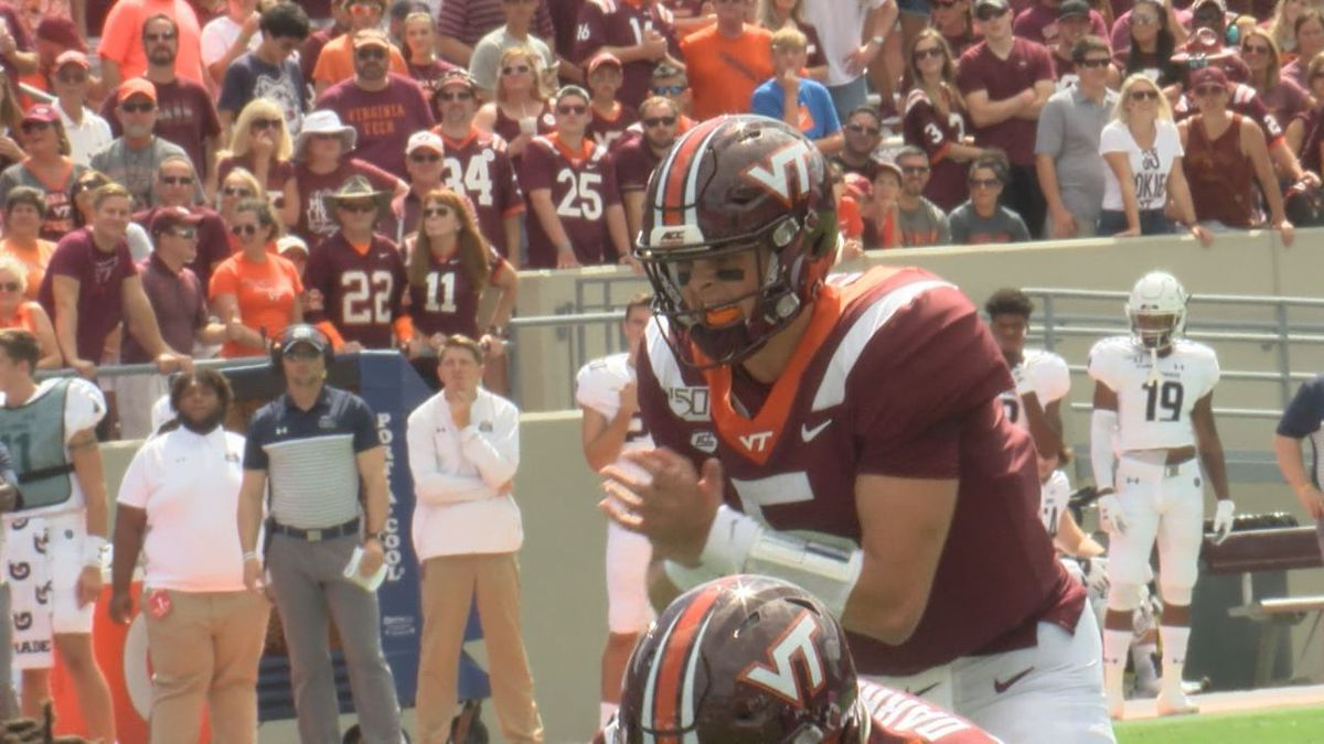 Virginia Tech quarterback Ryan Willis prepares to take a snap during the Hokies' 2019 home...
