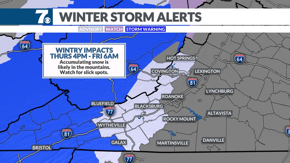 Winter Storm Advisory and Winter Storm Warning go into effect late Thursday.